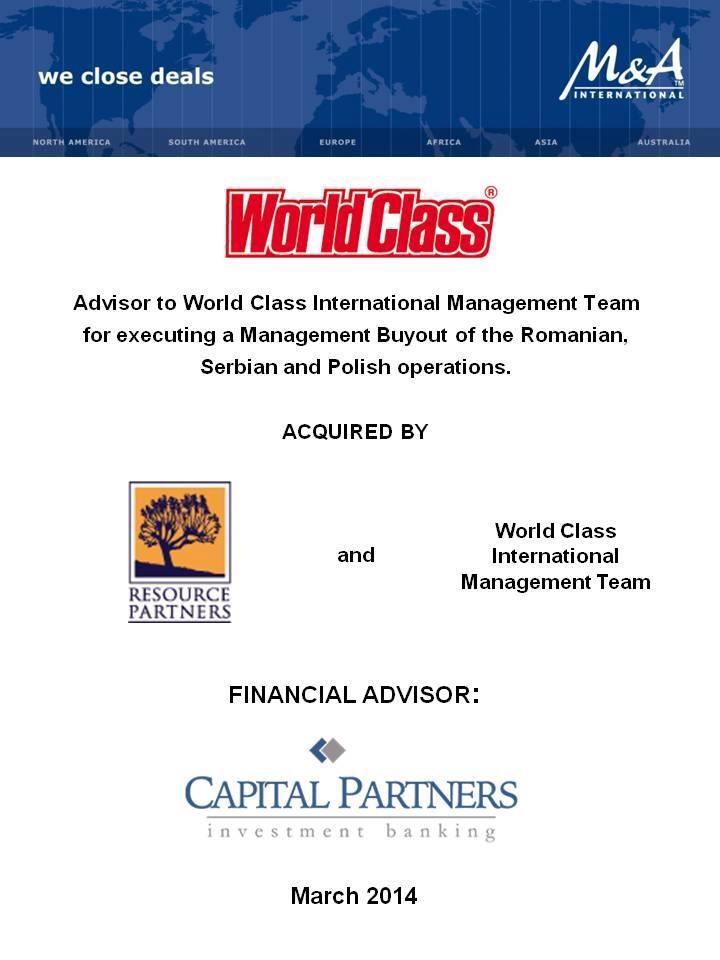 Capital Partners advisor to WorldClass Management by Sabin Piso