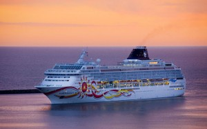 Dawn arrival of Norwegian Cruise Line Sun cruise ship into port of Buenos Aires, Argentina, South America